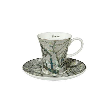 (Vincent Van Gogh Almond Tree Silver Espresso Set Cup and Saucer 8cm by Goebel 67011581)
