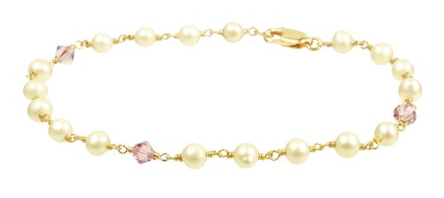Gold Plated Sterling Silver with Crystallized Swarovski Elements June Birthstone Alexandrite Color Bicone Beads and Freshwater Cultured Pearl Bracelet, 7.5