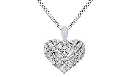 Baguette Heart Necklace - Round & Baguette CZ Heart Pendant W/Chain In 14K White Gold Over Sterling Silver