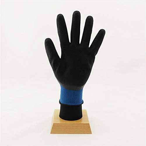 労働保護作業用手袋 労働保険手袋耐摩耗性耐油性および耐アルカリ性耐食作業手袋、12ペア (Color : Blue, Size : L)