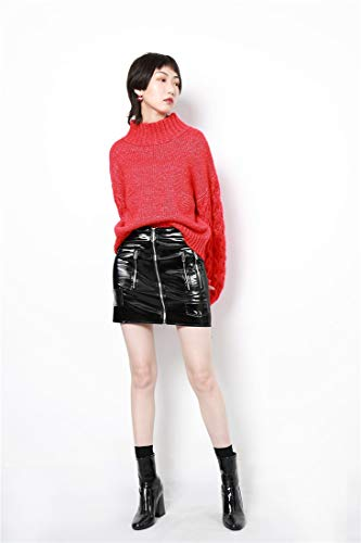 des Mince Robe Automne clair Cuir Noir Bodycon Mini Fermeture Sijux Femmes Taille Haute Fte Faux Jupe Svnxwx