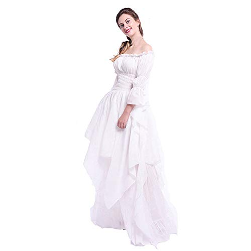 ♡QueenBB♡ Women Renaissance Dress Costume Pirate Peasant Wench Medieval Boho Chemise Casual Long Sleeve Off Shoulder Skirt White Air Wing Crew Sweatshirt