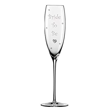 Crystals and Stem Charm Bridesmaid Champagne Glass Flute with Crystal Heart