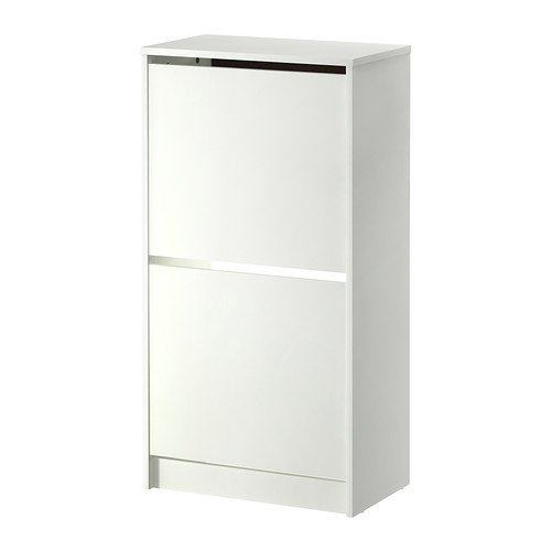 Ikea Bissa Shoe Cabinet With 2 Compartments White 49x93 Cm