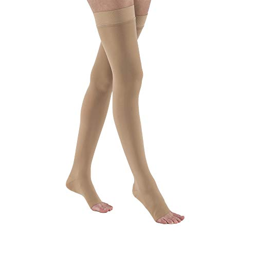 JOBST Relief Thigh High 20-30 mmHg Open Toe Unisex For Men & Women Compression Socks with Silicone Band, Beige - Choose Your Size