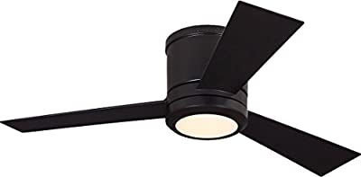 """Monte Carlo 3CLYR42OZD, Clarity II Flush Mount 42"""" Oil Rubbed Bronze Ceiling Fan with LED Light and Remote"""