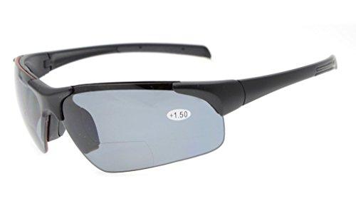 Eyekepper TR90 Unbreakable Sports Polycarbonate Polarized Half-Rimless Bifocal Sunglasses Baseball Running Fishing Driving Golf Softball Hiking Matte Black Frame Grey Lens +3.0