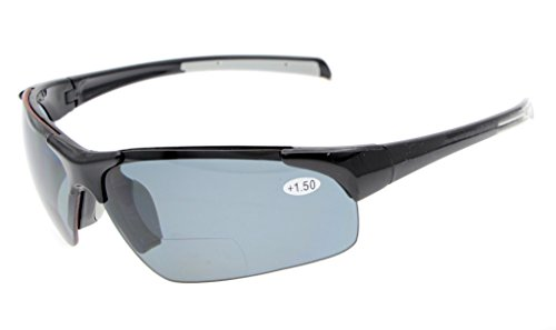 Eyekepper TR90 Unbreakable Sports Half-Rimless Bifocal Sunglasses Baseball Running Fishing Driving Golf Softball Hiking Black Frame Grey Lens +3.0