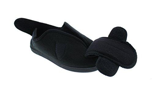 GOLDTOE Herren Jude breiten verstellbaren Strap orthopädische Wrap Slipper Bootie Memory Foam Haus Schuhe Schwarz