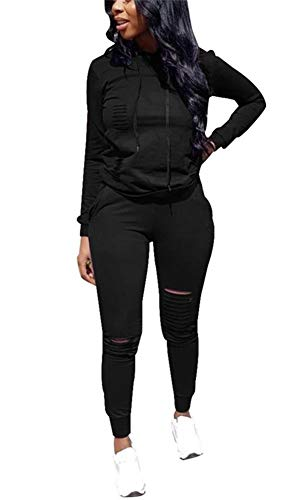 (LKOUS Womens 2 Pieces Outfits Long Sleeve Ripped Hooded Sweatshirt Shirt Tops and Bodycon Long Pants Tracksuit Set Plus)