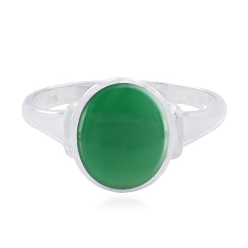 RGPL-Good Gemstones Oval Cabochon Green Onyx Rings - 925 Sterling Silver Green Green Onyx Good Gemstones Ring -Nice Jewelry Greatest Item Gift for Engagement fine Rings