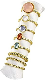 FUTIMELY Boho Retro Stackable Rings Sets for Teen Girls Women,Peak Sea Wave Compass Turquoise Rhinestone Knuck
