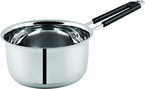 Kitchen Hub ® Stainless Steel Induction Bottom Base Sauce Pan, Flat Base Sauce Pan, Tea Pan, Milk Pan, Tapeli Patila, Sauce Pot Cookware with Handle (2500 Ml)