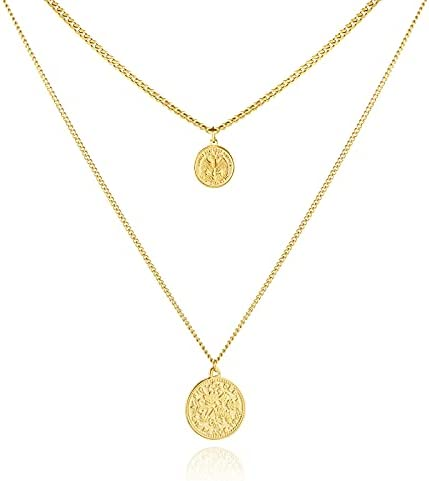 Burpada Layered Gold Necklaces for Women, 14K Gold Plated Choker Necklace with Coin Pendant Necklaces Jewelry Gifts for Women Girls Dainty Layering Necklace
