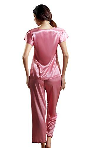 Rot Hogar Pantalones Bastante Satín Sólidos Moda El Encaje Ropa Colores Conjunto Mujer Elegante Corta Splice Primavera cuello De Otoño V Dormir Manga Para Pijama BgtYHq