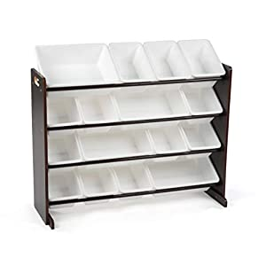 Tot Tutors Extra-Large, Supersized Toy Storage Organizer White Bins, Espresso Collection