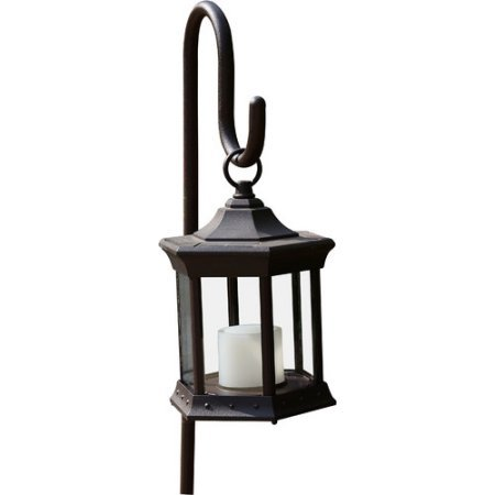 Solar Lantern with Shepherd's Hook LED Candle Light (Clear Glass) by Brand: Starlite Garden & Patio Torche