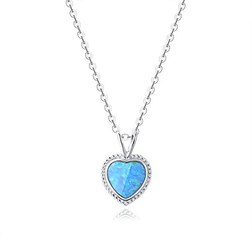 Fancime Sterling Silver Blue Created Opal Pendant Necklace Gold Plated Shinning Women Heart Necklace ()