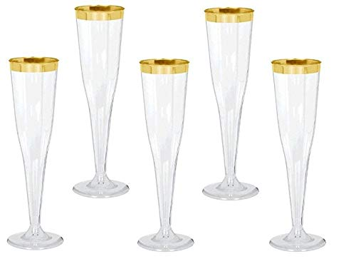 (30 pc Gold Rimmed Clear Classicware Glass Like Champagne Wedding Parties Toasting Flutes)