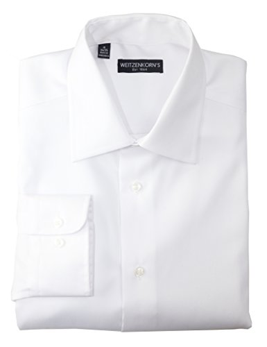 Weitzenkorn's Designer Men's Slim Fit Non Iron Cotton Dress Shirt (White, 16.5 34/35)