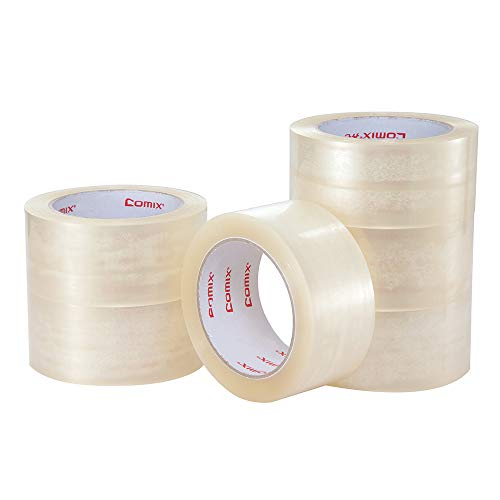 Comix Shipping Packing Tape 100 Yards x 1.89 inch per Roll, Transparent Clear Packaging Tape for Moving Boxes, Shipping, Office and Storage-6 Refill -