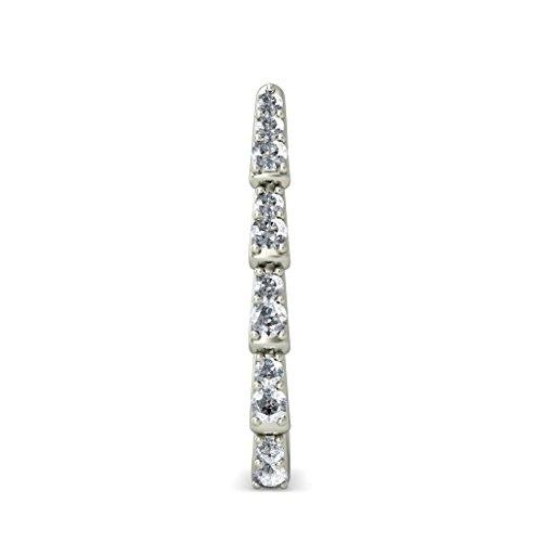14K Or blanc 0,19CT TW Round-cut-diamond (IJ | SI) Boucles d'oreilles créoles