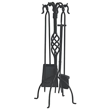 Uniflame, F-1053, 5pc Black Wrought Iron Fireset with Center Weave