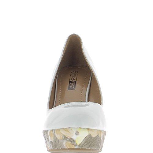 Escarpins compensés femme blancs vernis à talons de 10,5cm et plateforme fleurie