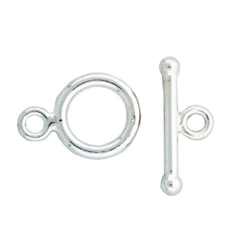 Sterling Silver Plain 12mm Round Toggle Clasp, 2 Sets