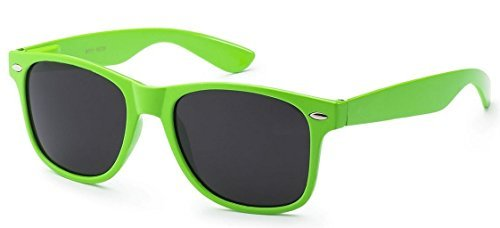 Retro Style Sunglasses - Bright Neon or Solid Colors with Classic 80's Style Design (Neon Green) -