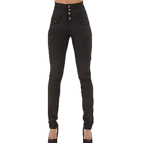 Taille Jeans Boutonna Pantalon Crayon Schwarz Fit Slim Basic Femmes Haute Simple 2Ye9DHWIEb