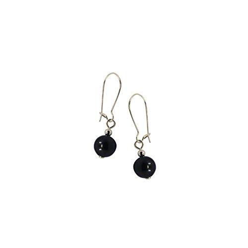 Black Akoya Cultured Pearl Dangle Hanging Earrings (7.0-7.5mm)