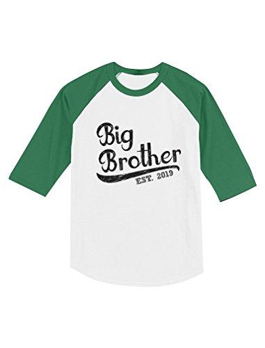 Tstars - Gift for Big Brother 2019 Toddler Raglan 3/4 Sleeve Baseball Tee 6T Green/White