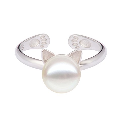 S.Leaf Cat Ear Ring White Pearl Cat Ring S925 Sterling Silver Open (New Sterling Silver Cat Ring)