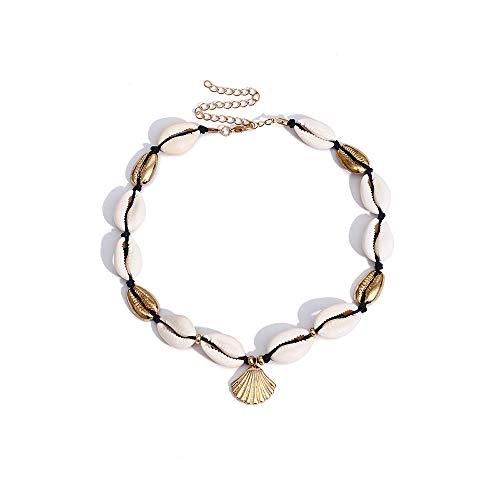 - AOASK Natural Shell Choker,Handmade Hawaii Beach Cowrie Shell Necklace for Women Girls,White Velvet Rope Knotted Choker (Shell Gold)