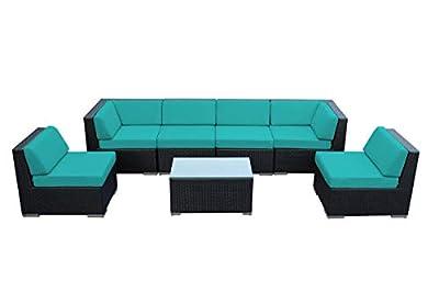 Ohana Collection Genuine Ohana Outdoor Patio Wicker 7-Piece Sofa Set Furniture