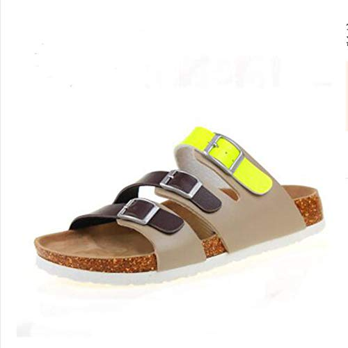 Barrow Bootie - YaMiFan Womens Slides Flat Sandals Open Toe Three Buckle Strap Footbed Cork Sole Comfort Summer Shoes 16 5