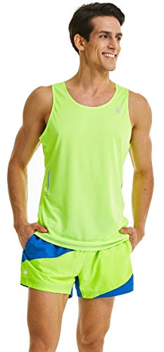Dri Singlet Mesh Fit - Leevy Tank Tops for Men Ultra Lightweight Singlet Running Tank Dry Fit Sleeveless Shirt(US X-Large=Tag 4XL New Yellow)