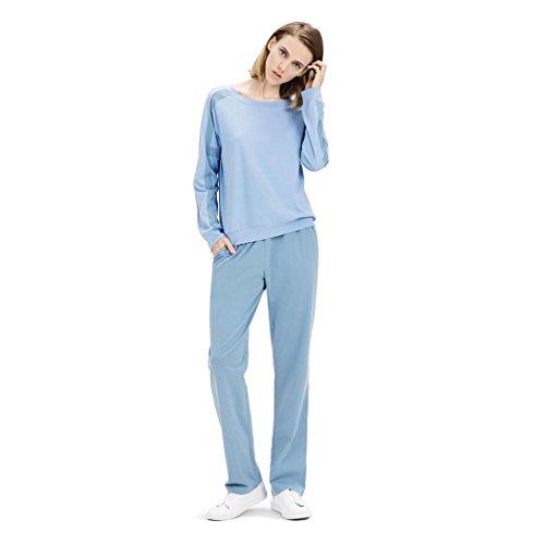 HXQ 100% Algodón Pijama para Mujer Cuello redondo Manga larga Blue