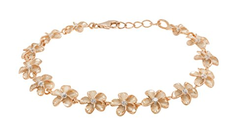 - Honolulu Jewelry Company 14k Rose Gold Plated Sterling Silver Plumeria Bracelet with CZs