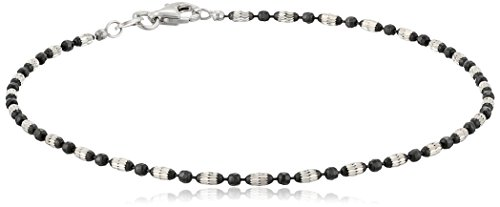 Italian Sterling Silver Rhodium and Black Ruthenium Plated Diamond-Cut Oval and Round Beads Mezzaluna Chain Anklet, 9""