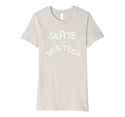 Womens Skate and Destroy T-Shirt Small Silver