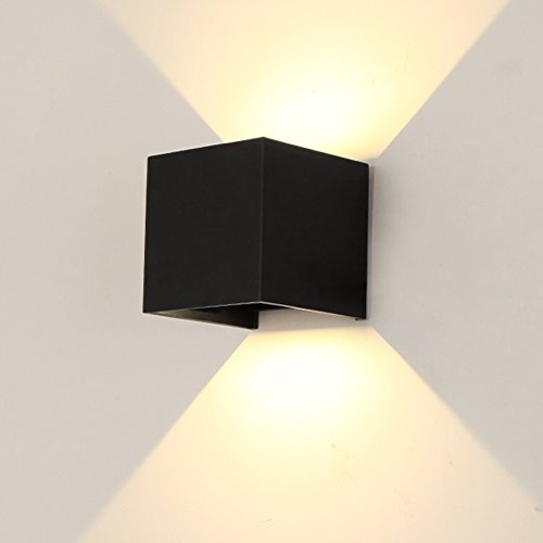 LED Outdoor Wall Lamp Aluminum Waterproof Wall Sconce IP65 12W Adjustable Outdoor Wall Light, Warm White, Black (Outdoor Black Light Wall)