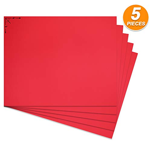 Emraw Poster Board Lightweight Craft Backing Boards for Presentations Office Sign Blank Painting Board Smooth Surface Poster Sheets for School Pack of 5 (Red) -