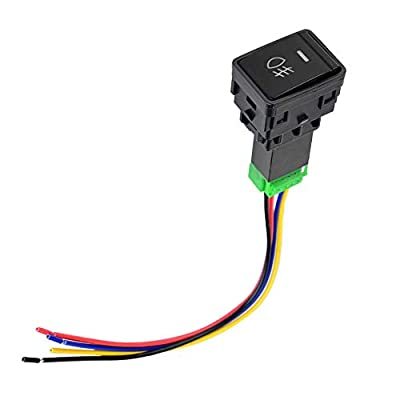 Akozon Fog Light Push Button Switch with Harness 4 Poles 12V with LED Background Indicator Light for Most of Nissan Car: Automotive