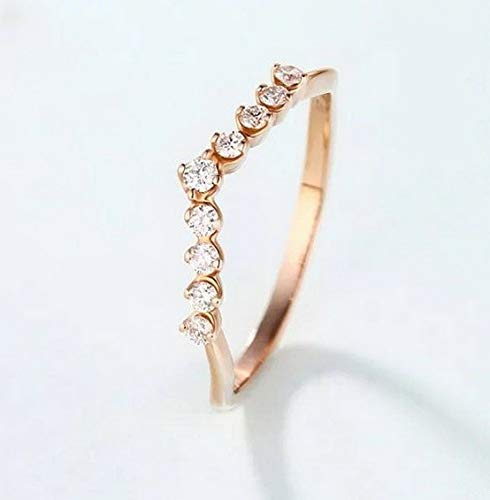 - Dokis 18K Rose Gold Fil Jewelry White Topaz Woman Man Gift Flower Wedding Ring | Model RNG - 16668 | 10
