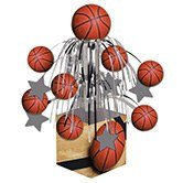 Pack of 6 Sports Fanatic Basketball Mini Cascade Foil Tabletop Centerpiece Party Decorations -