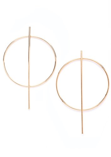 Hoop Earrings in Gold Color | Modern Bar Hoop Earrings nickel free
