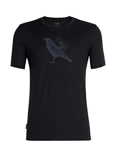 Icebreaker Merino Men's Tech Lite Short Sleeve Crewe Ravencamp, Black, Medium ()
