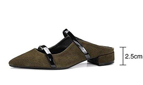 PBXP OL Pumps Spitz Zehengürtel Dekoration Chunky Low Heel Limited Edition Feminine Casual Schuhe EU Größe 33-40 , dark green , 33